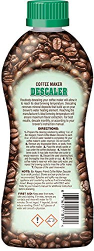 Bar Keepers Friend Coffee Maker Descaler (12 oz) - Removes Mineral Deposits from Espresso Makers and Automatic Drip and Single-Cup Coffee Makers - Optimizes Coffee Flavor and Temperature