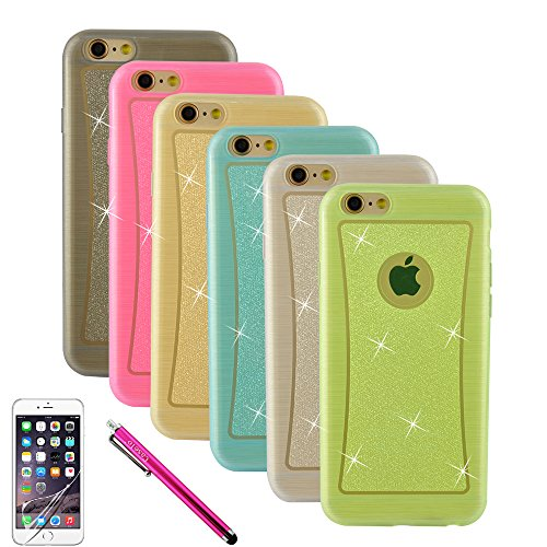 """iPhone 6 Case, Bundle 6 Pack Silicone Case [Ultra Slim] Glitter Jelly Soft TPU GEL Protective Cover Rubber Shell Skin Assorted Color (Pink, Grey, Golden, Blue, Clear) for Apple iPhone 6 4.7"""" inch with Bonus Screen Protector and Logo Stylus Pen"""