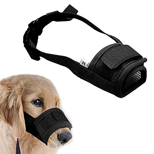Dog Muzzle Training Muzzle - Muzzle for Dogs - Adjustable Soft Muzzle for Small Medium Large Dog, Air Mesh Dog Mouth Cover Training Muzzles for BitingBarking Chewing - Breathable Mesh & Soft Flannel Protects Dog Mouth