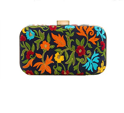 Embroidered Silk Floral Navy Clutch ()
