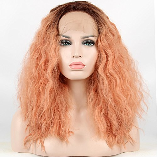 Price comparison product image Destiny Love Short Bob Lace Front Wigs Syhthetic 2 Tones Color Dark Roots Pastel Pink Ombre Loose Natural Curly Half Hand Tied Glueless Lace Wig for Women 14 Inches