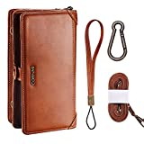 Cornmi Galaxy S8 Plus Case, Zipper Wallet Cash Slot Detachable Case with 11 Card Slots Shoulder/Wrist Strap and Carabiner Large Capacity for Samsung Galaxy S8 Plus 6.2 inch