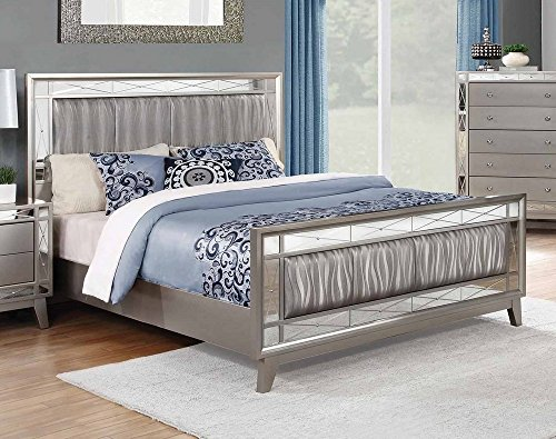 Coaster Leighton Collection 204921Q Queen Size Bed with Etched Mirror Panels Wavy Metallic Pattern Leatherette Upholstery Poplar Wood and Asian Hardwood Frame in Mercury Metallic by Coaster Home Furnishings