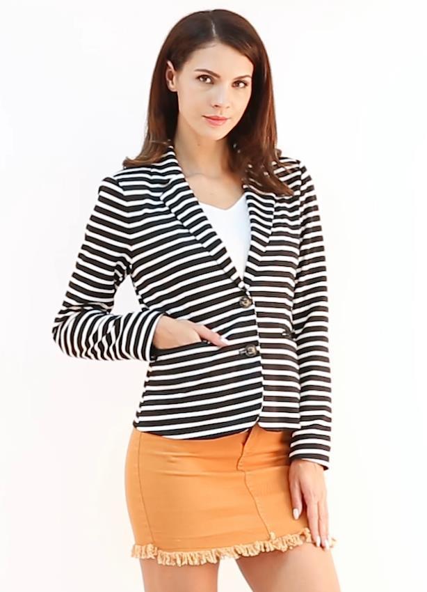 Allegra K Women's Notched Lapel Pocket Button Closure Striped Blazer 20