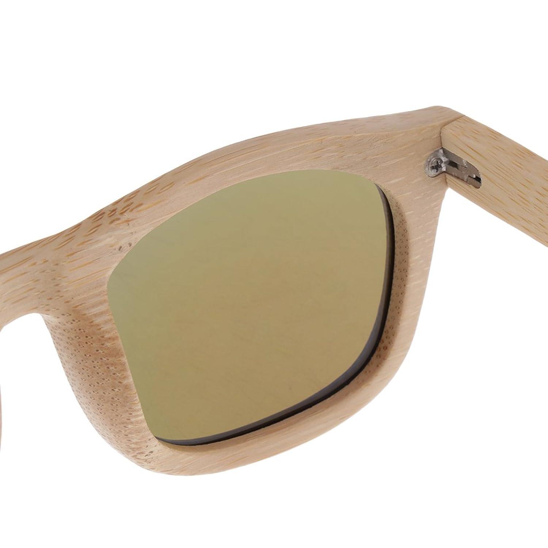 Baoblaze Unisex Bambusrahmen UV400 Polarisierte Sonnenbrille Gespiegelte Linse Sunglasses mit Box - Braun fzbql3lQBS