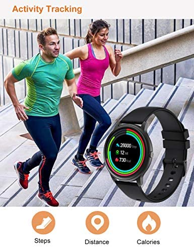 YAMAY Smart Watch Compatible iPhone and Android Phones IP68 Waterproof, Watches for Men Women Round Smartwatch Fitness Tracker Heart Rate Monitor Digital Watch with Personalized Watch Faces WeeklyReviewer