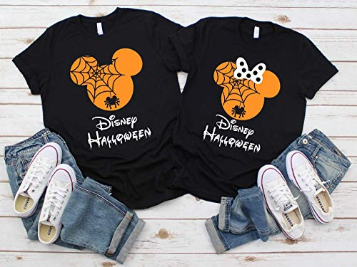 Not So Scary Halloween Party (Disney Halloween T-Shirts Matching Vacation Apparel Shirts for Family Men Women Boys Girls Baby Spiderweb Mickey Minnie Ears Orange)