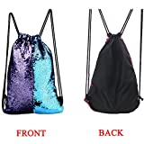 HITOP Drawstring Backpack Sackpacks Glittering Sequin Outdoor Dance Sports Cinch Bags