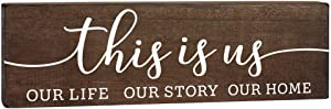 This Is Us Sign - Rustic Home Decor - 5.5x17 Wooden Farmhouse Family Wall Art with Saying