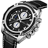 MEGIR Mens Analog Quartz Wrist Watches Fashion Military Pilot Multifunction Leather Chronograph Wristwatch,Luminous Waterproof Casual Business Office Work School Sport Watch for Men Gifts…