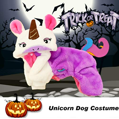 (Stock Show Pet Costume Dog Cat Halloween Cute Unicorn Costume Pet Fall Winter Thicken Flannel Velvet Four Legs Clothes Outfit Apparel Costume Accessory for Small Medium Dogs Puppy Cat,)