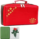 Professional Chinese Mahjong Set, 144 Tiles Easy to Read Standard Size with Fabric Handbags, Portable Set for Travel or Indoor Use