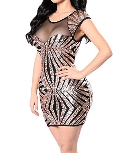 made2envy Gold Sequin Mesh Cutout Sexy Club Dress (M, Gold) LC22959MG (Sexy Gold Sequin)