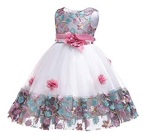 Girls Party Dresses Size 6 (NSSMWTTC 6M-10Y Flower Girl Wedding Dress Kid Birthday Pageant Party Event Knee Prom Tutu Dresses 6T 7 Years)