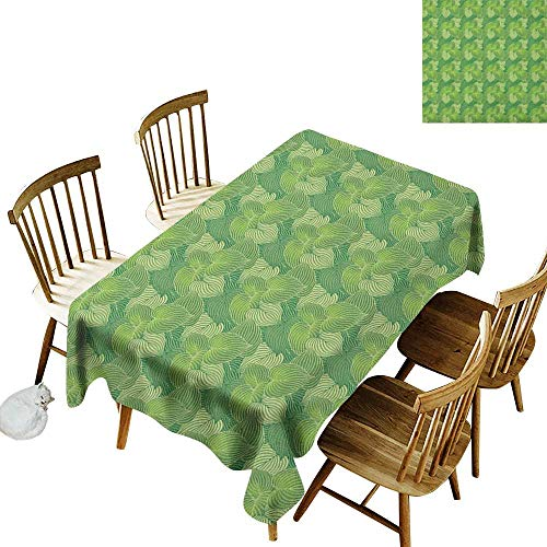 (kangkaishi Anti-Wrinkle and Anti-Wrinkle Polyester Long Tablecloth for Weddings/banquets Abstract Hosta Plants Lush Forest Growth Leaves Ecology Jungle Theme W52 x L70 Inch Fern Lime and Pale Green)