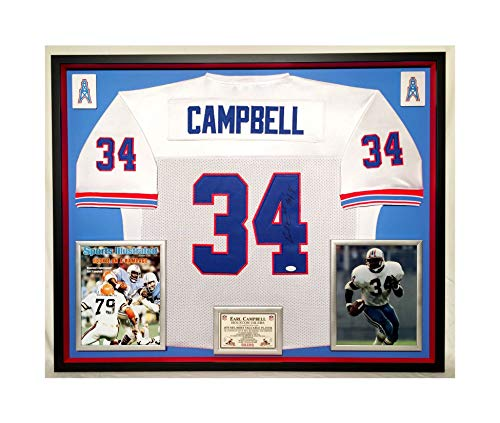 Ness Oilers Houston (Premium Framed Earl Campbell Autographed/Signed Houston Oilers Official Mitchell & Ness Jersey - JSA COA)