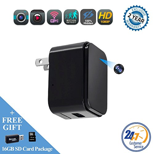 charger WEMLB, Invisible 1080p HD hidden camera, WIFI Wireless wall plug USB Charger [Motion Detection, AC Adapter, Remote App Control] Nanny, Home, Kids, Baby, Pet monitoring cam ()