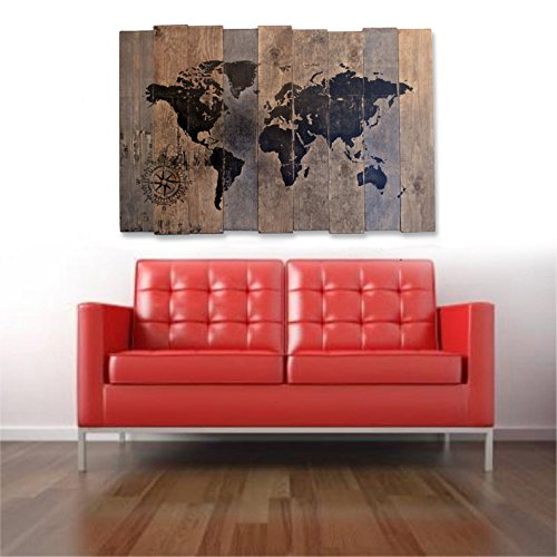Amazon extra large world map and compass wall art on distressed extra large world map and compass wall art on distressed solid wood gumiabroncs Choice Image