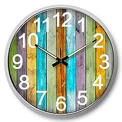 HMKEMAO 14 inch Modern Metal Frame Wall Clocks Creative Luminous Digital Large Hanging Clock