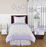 Lavender, Gray and White Elizabeth Damask Print Girl Bedding Collection Children / Teen 4pc Twin Set