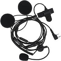 TENQ 2 Pin Open/half Face Motorcycle Bike Helmet Earpiece Headset Mic for Two Way Radio Walkie Talkie Kenwood Baofeng Wouxun Puxing Radio