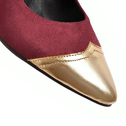 VogueZone009 Women's Assorted Color Frosted High-Heels Closed-Toe Pumps-Shoes Claret xsAfm