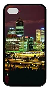 Bright City Skyline TPU Black Case for iphone 4S/4 by Maris's Diary