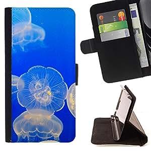 Jordan Colourful Shop - jellyfish glowing ocean blue sea nature For Apple Iphone 6 - < Leather Case Absorci????n cubierta de la caja de alto impacto > -