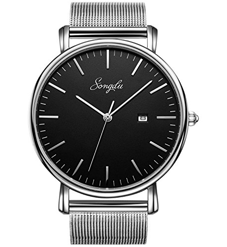 SONGDU Men's Fashion Date Slim Analog Quartz Watches Black Dial with Stainless Steel Silver Mesh (Black Mirror Dial)