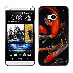 Ihec Tech Koi Goldfish Estanque Dorado Rojo Negro / Funda Case back Cover guard / for HTC One M7