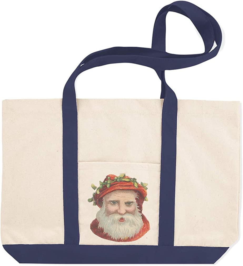 Canvas Shopping Tote Bag Santa Vintage Look A47 Holidays and Occasions Christmas Beach for Women
