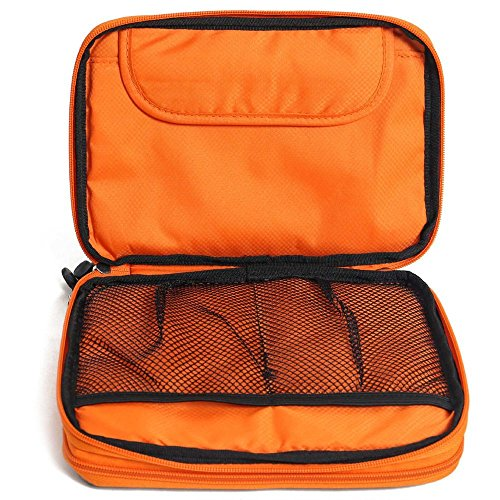 METORY Travel Accessories Electronics Organizer, Universal Cable Management Organizer Travel Bag For USB, Phone, iPad, Charger and Cable (Double Layer, Large, Grey and Orange) by METORY (Image #4)