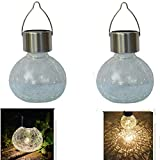 Solar Christmas Decorations Tree Lights Outdoor Waterproof Table Light Glass Ball Table Lamp Hanging Solar Lantern Warm White LED Jar Lights Outdoor Mason Jars Tabletop for Gift Party Decor 2Pack