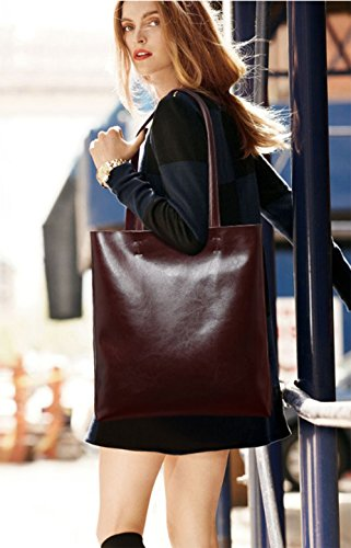 Fashion Coffee Multiple Shoulder Large LLXYM Simple Women's Leather Capacity Tote Oily Bag Pockets 5wBq7R