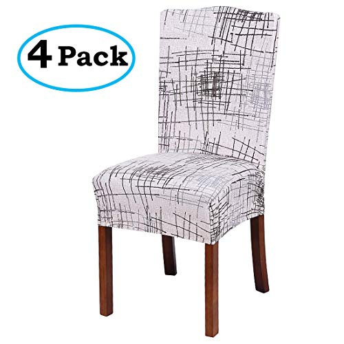 misaya Stretch Spandex Dining Room Chair Cover Removable Washable Chair Protector Flowers Painting Stool Seat Slipcover Set of 4, Beige with Stripes by misaya