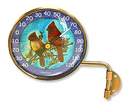 Window Thermometer Original (Pink Cloud Cardinals Wall Mount Swivel Copper Dial Artful Thermometer)