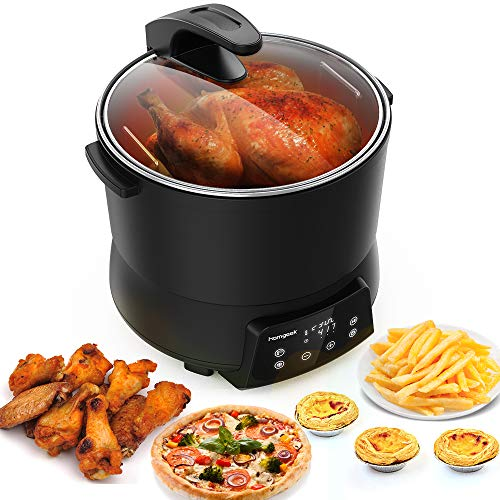 Homgeek Air Fryer, 9.5Qt Electric Hot Air Fryers Healthy Power Air Fryer Oven Oilless Cooker for Air Frying, Roasting and Reheating, Touch Screen & Deluxe Nonstick Accessory Kit,UL Certified and 2-Year Warranty