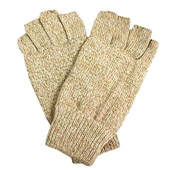 Luxury Divas Tan Men's Thermal Insulated Half Fingerless Gloves