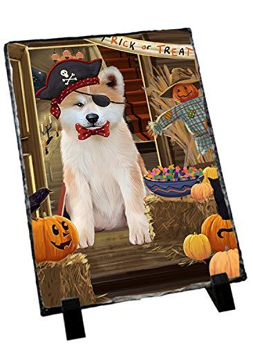 Slate Akita (Doggie of the Day Enter at Own Risk Trick or Treat Halloween Akita Dog Photo Slate SLT52931)