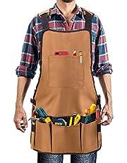 Delantal de trabajo, UHINOOS delantal de tienda de lona pesada de Oxford con bolsillos - Múltiples bolsillos para organizar tus herramientas - Hombros acolchados ajustables y correas acolchadas - delantal impermeable y de protección de herramienta
