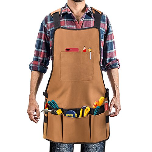 Work Apron - UHINOOS 16 Pockets Professional Heavy Duty Waterproof Tool Apron With Adjustable Cross-back Strap Fits Men & Women (brown) by UHINOOS