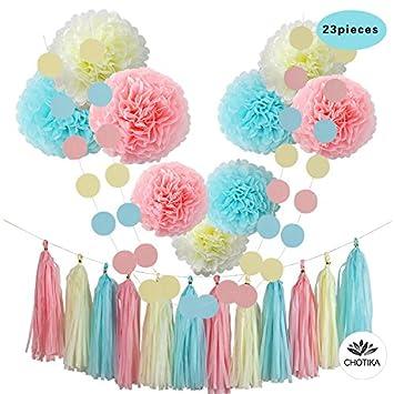 Amazoncom CHOTIKA 23 pcs Tissue Paper Flowers Pom Poms Party