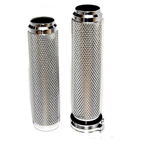 Speed Dealer Customs Chrome Plated Billet Aluminum Knurled Hand Grips for Harley Davidson Softail Dyna Sportster 1