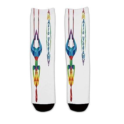 YOLIYANA Yoga Stylish Knee Length Socks,Aerial Aero Anti Gravity Yoga Theme Colorful Triangles Fractal Style Human Body Image Decorative for Men ...