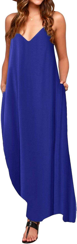 TALLA L. ACHIOOWA Mujer Vestido Elegante Casual Dress Cuello V Sin Manga Playa Tirantes Bolsillos Punto Falda Larga Azul