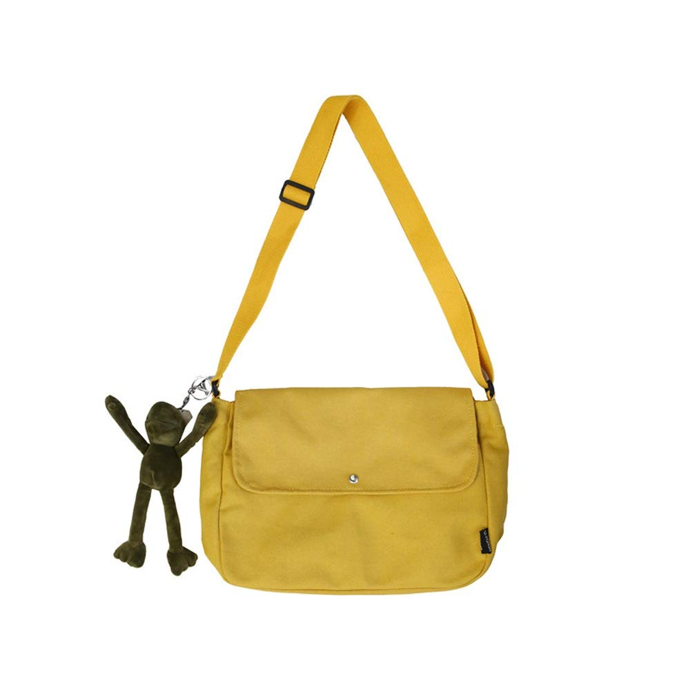 OATL Canvas Material Messenger Bag Tide Brand Retro Messenger Bag Men and Women Canvas Bag Literary Shoulder Bag Casual Simple Large Capacity Black White Yellow Optional