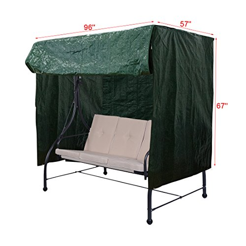 Caymus Outdoor 3 Seater Porch Swing Hammock Glider Cover, Water Resistant 96