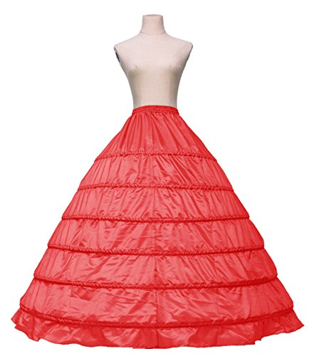Fankeshi Women's Six Hoops Slip Petticoat Floor Length Large Underskirt For Wedding (Red) by Fankeshi