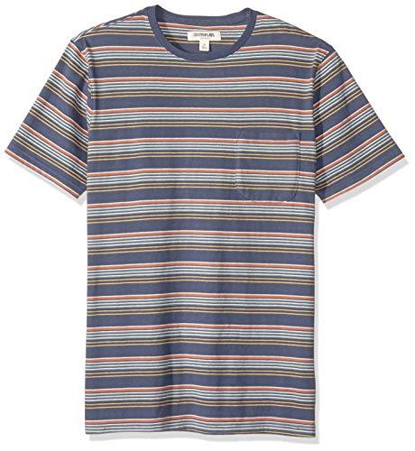 Gradient Stripe - Goodthreads Men's Short-Sleeve Sueded Jersey Crewneck Pocket T-Shirt, Navy Gradient Stripe, Medium Tall