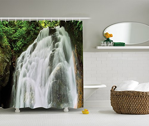 Ambesonne Waterfall Decor Collection, Surprise Waterfall in Jungle Shrubs Water Splashes Pattern, Polyester Fabric Bathroom Shower Curtain Set with Hooks, 84 Inches Extra Long, White Green